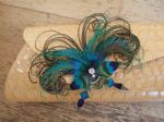 "Bridal Peacock Feathers Butterfly ""Sophia"" Crystal Bag Corsage Clip"
